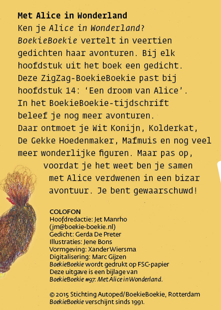 Met Alice in Wonderland en colofon