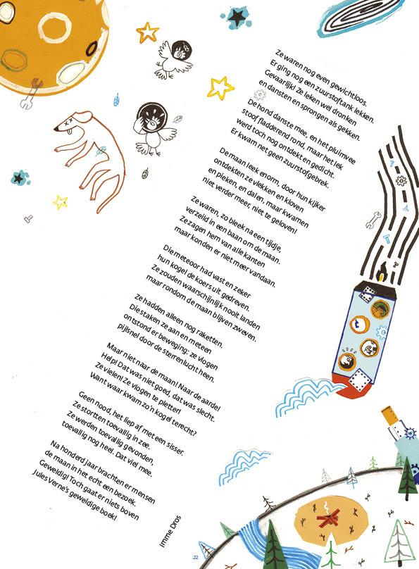 Naar de maan • gedicht Imme Dros • illustratie Steef Wildenbeest