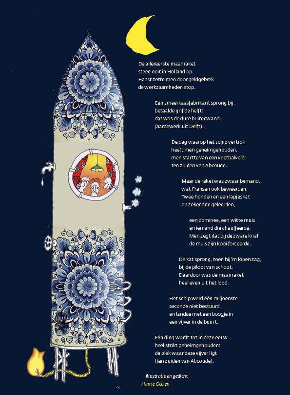 De allereerste maanraket • Illustratie en gedicht Harrie Geelen