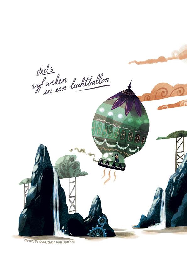 Deel 3: Vijf weken in een luchtballon • illustratie Sebastiaan Van Doninck