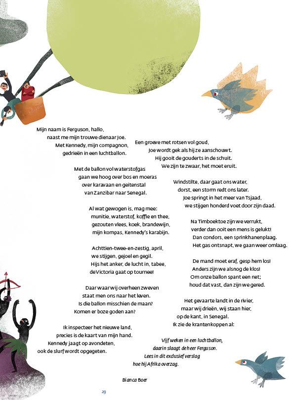 Langzaam door de lucht • gedicht Bianca Boer • illustratie Kristina Prokhorova