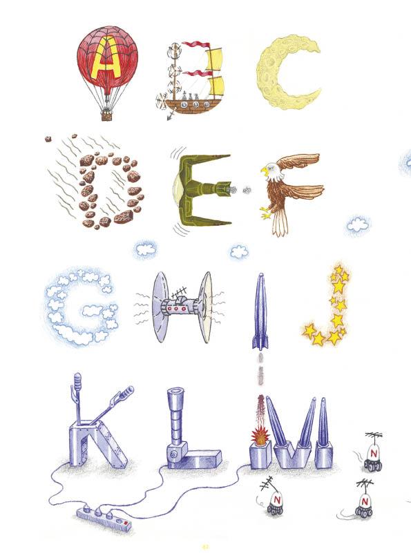 Een alfabet voor Jules Verne • illustratie Jan van Doornspeek